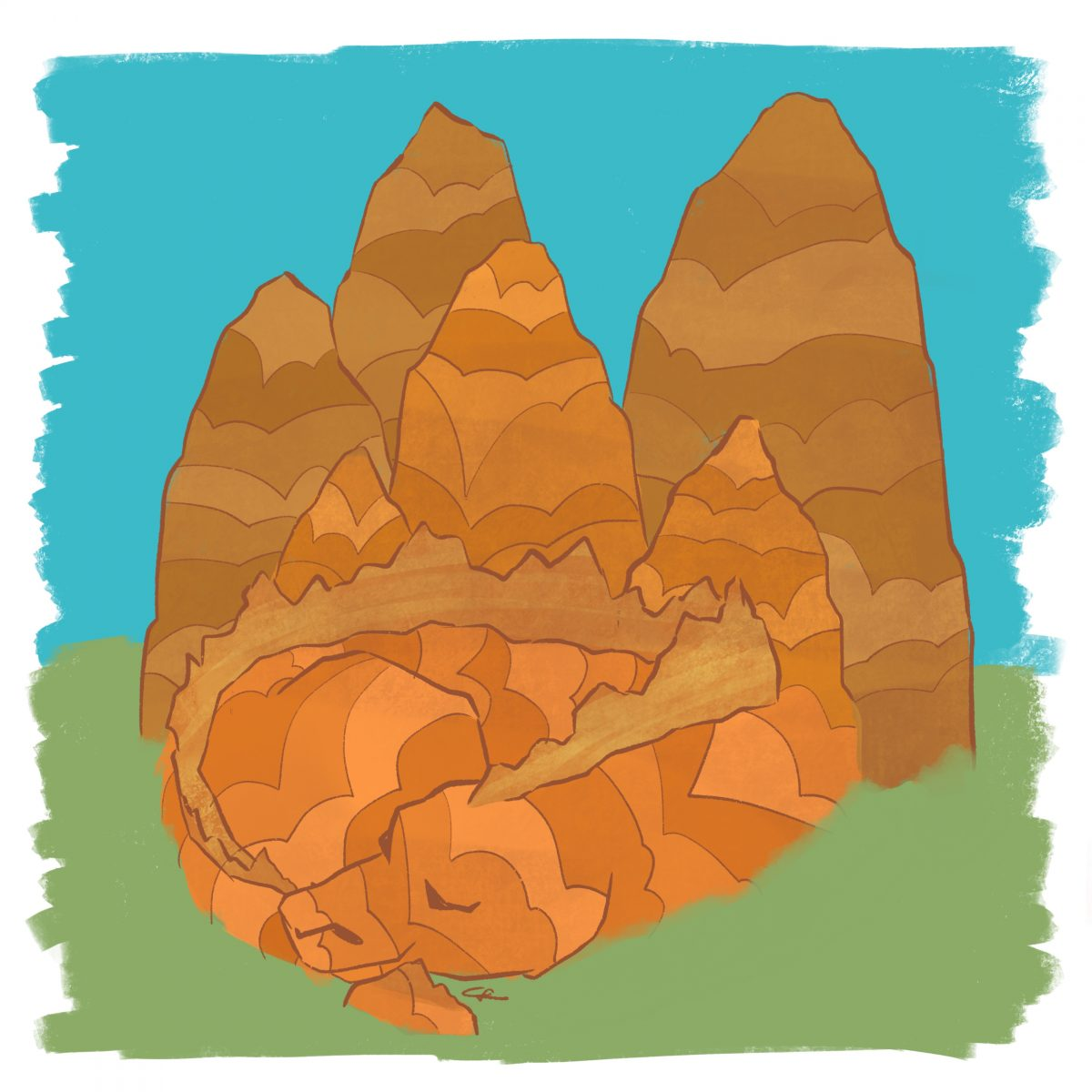 Image of a sleeping mountain dragon