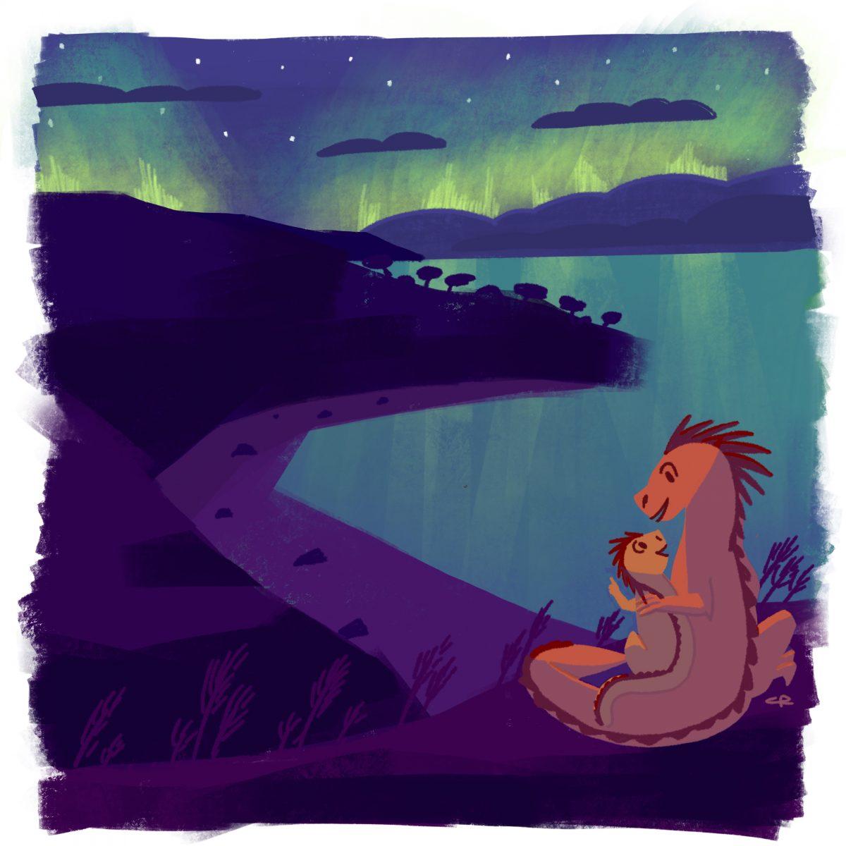 Father and son dragon enjoying the aurora borealis
