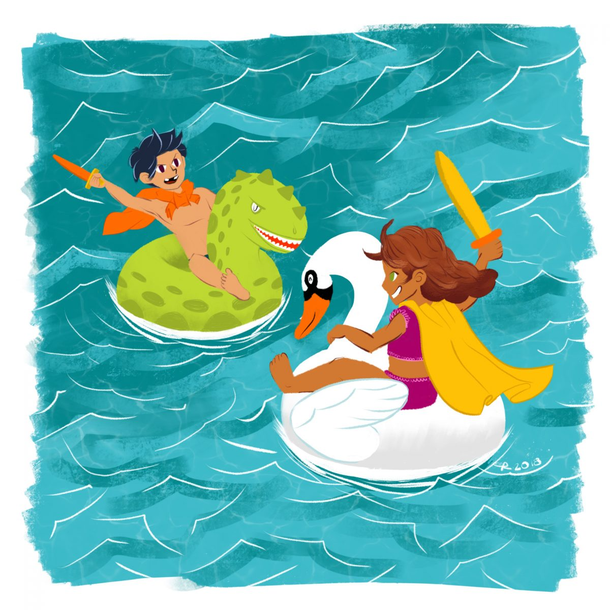 Image of two kids having a sword fight on pool floats