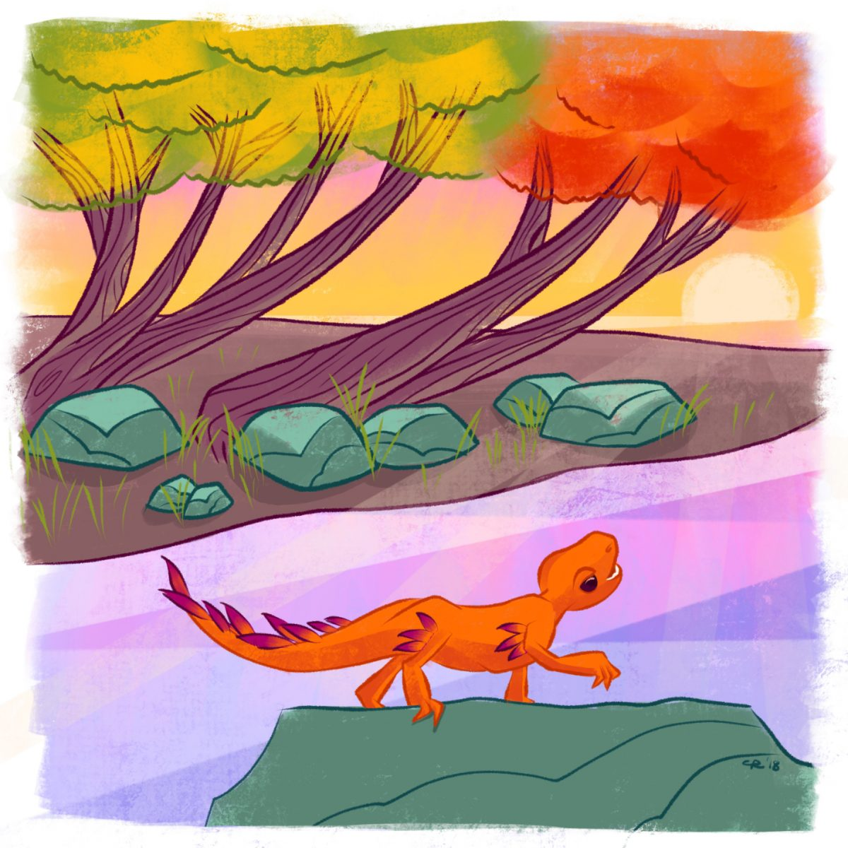 A little dragon pauses to enjoy a later afternoon sunset through the many-colored autumnal trees.