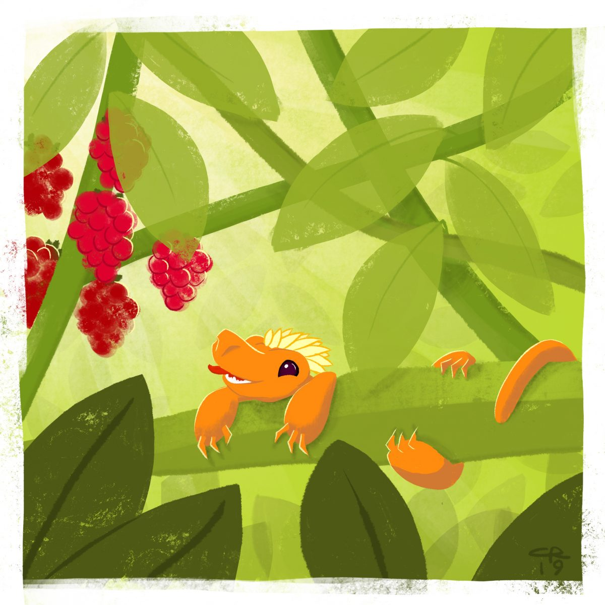 An image of a dragon straining purposefully to reach some delicious raspberries just beyond his reach