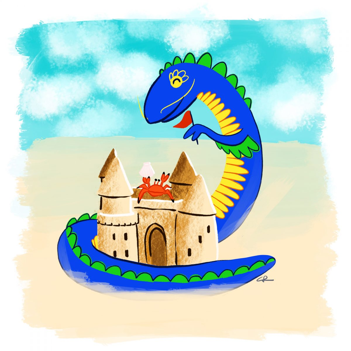 Image of dragon building a sand castle with a crab