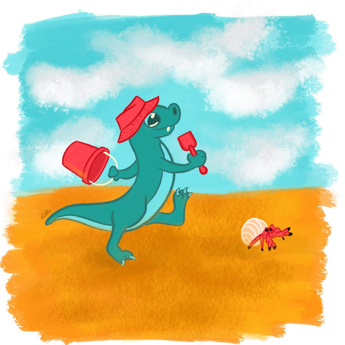 image of a dragon and a hermit crab walking on the beach