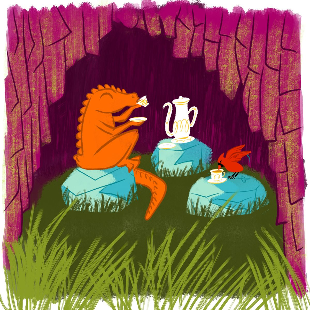 An image of a dragon and a cardinal drinking tea in a tree stump