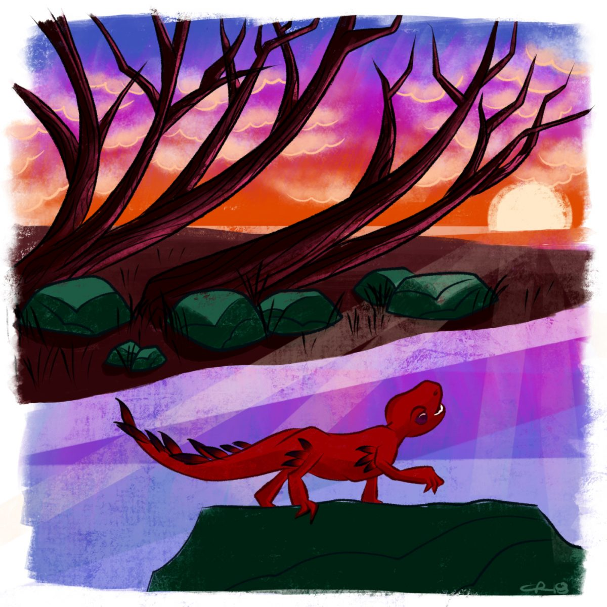A little dragon stops to enjoy a late autumn sunset
